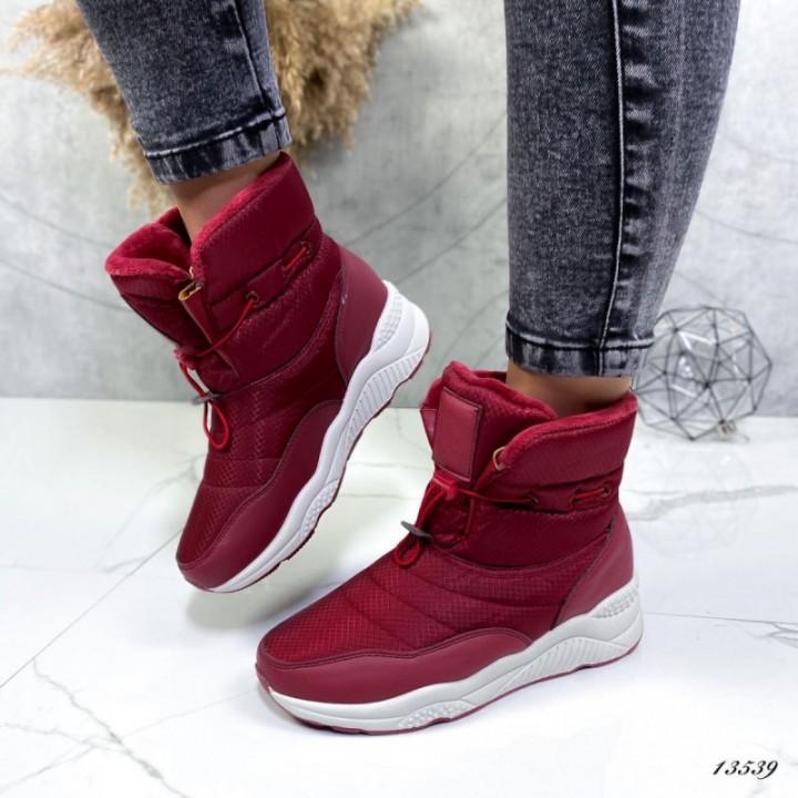 Женские ботинки дутики бордовые 13540