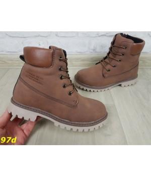 Детские ботинки зимние на натуральном меху овчине темно-коричневые 32-37р