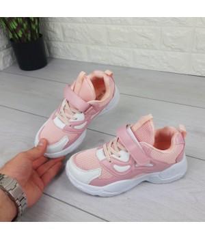 Кроссовки детские на липучках и шнурках. Кроссовки подростковые розовые из эко кожи и текстиля.