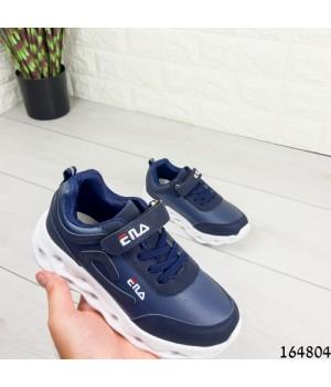 Кроссовки детские синие на липучке и шнурках. Материал эко кожа + эко замш Код продукта: 3914791