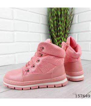 """Ботинки подростковые зимние , розовые на шнурках """"Kuide"""" эко кожа."""