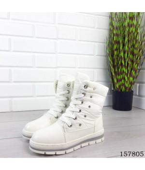 Детские, подростковые сапоги зимние на шнурках, белого цвета из эко кожи и плащевки, внутри теплый эко мех