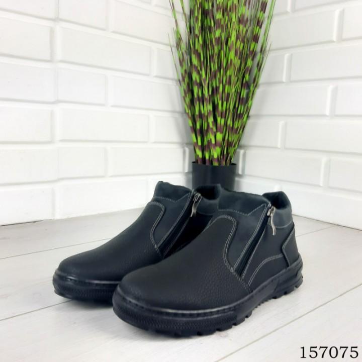 """Ботинки мужские зимние черные """"Ajoles"""" эко кожа"""