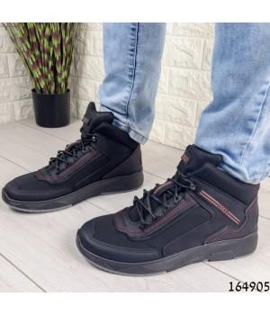 Ботинки мужские ЗИМНИЕ черные из эко кожи, внутри эко мех.