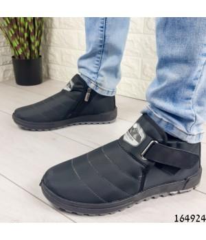 Ботинки мужские ЗИМНИЕ черные из плащевки, внутри густой эко мех .