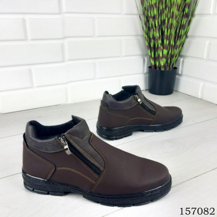 """Ботинки мужские зимние коричневые """"Ajoles"""" эко кожа"""