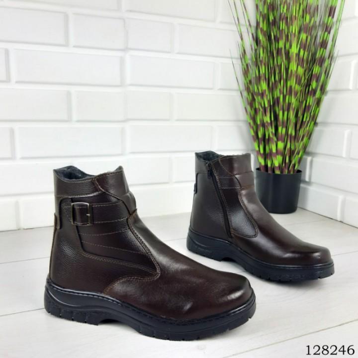 """Ботинки мужские зимние коричневые """"Irve"""" эко кожа"""