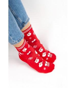 Женские носки FAMO Носочки Рудольф белые+красные 36-40