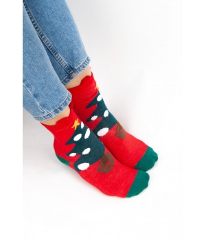Женские носки FAMO Носочки Рудольф красные+зеленые 36-40