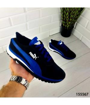 """Кроссовки мужские темно-синие в стиле """"Puma"""" НАТУРАЛЬНАЯ ЗАМША, мокасины мужские, кеды мужские, обувь мужская"""