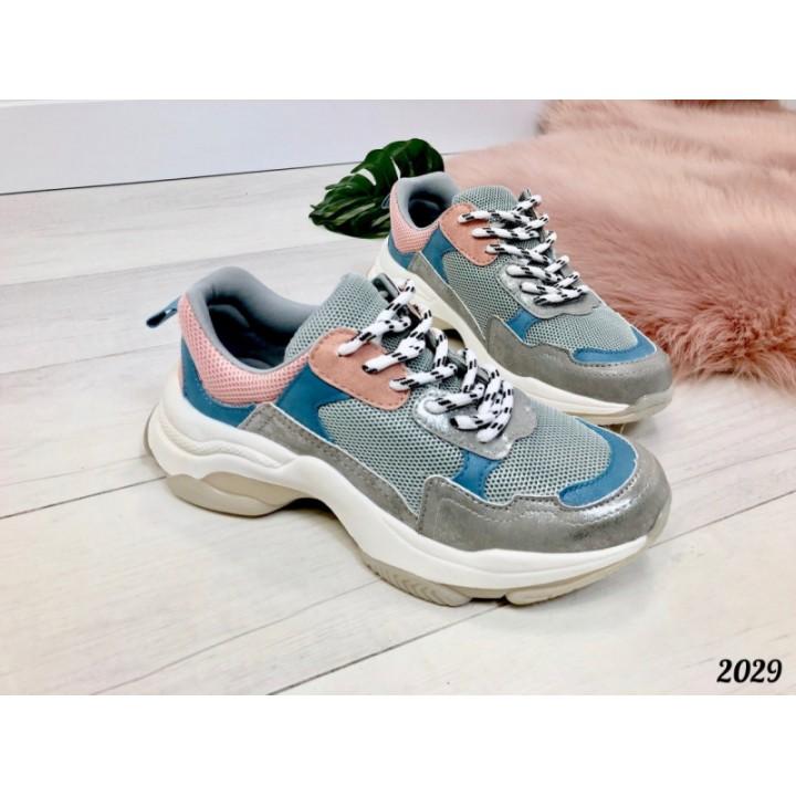 Женские кроссовки серые с голубым HIT 2029