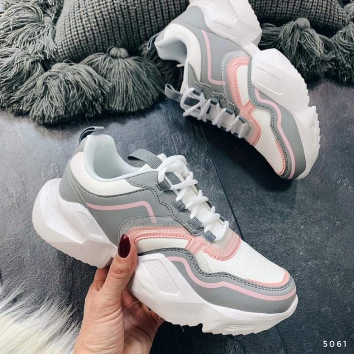 Женские кроссовки белые с серым 5061