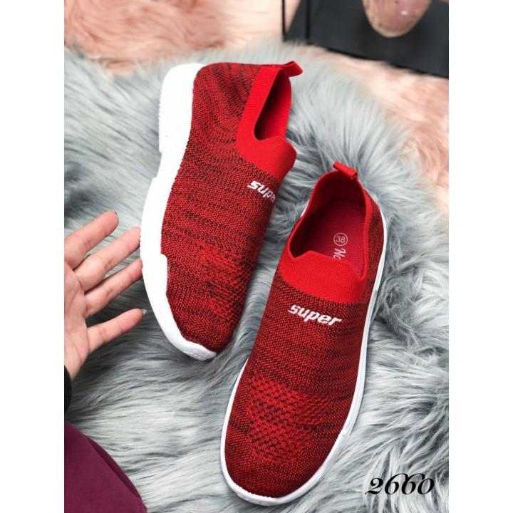 Женские кроссовки красные 2660