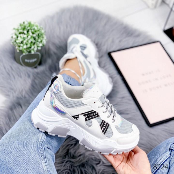 Кроссовки женские белые с серым Minis 8224