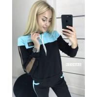 """Женский костюм для спорта """"Lovely"""" черный+голубой, 42-44 #A/S"""