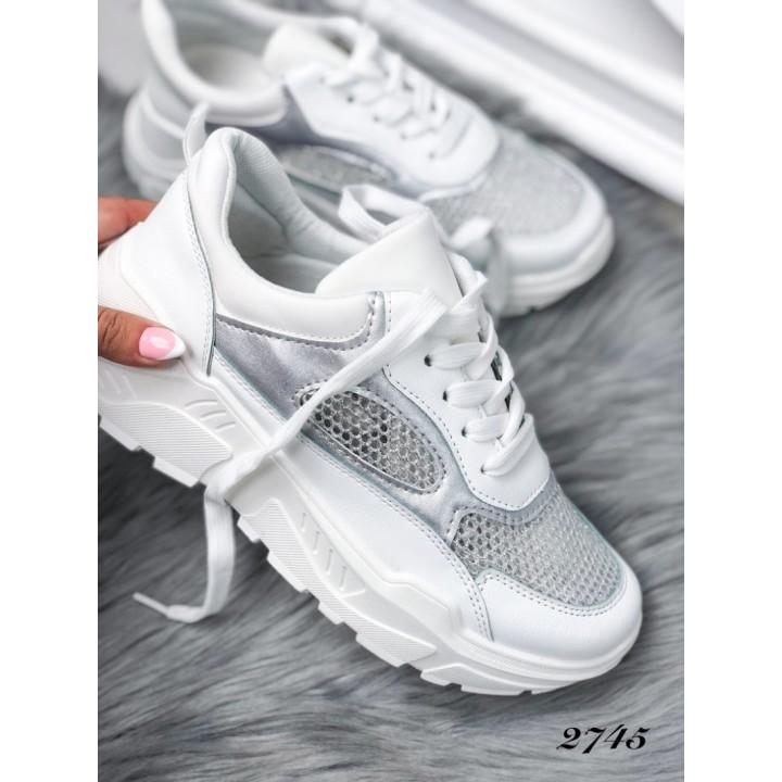 Женские кроссовки белые 2745