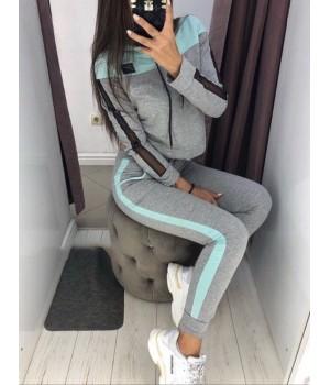 """Женский костюм для спорта """"Lovely"""" серый+голубой, 46-48 #A/S"""