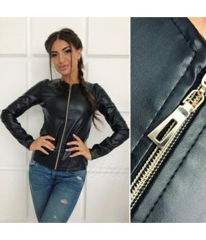 """Демисезонная куртка из экокожи """"Karo"""" 46, черный #A/S"""